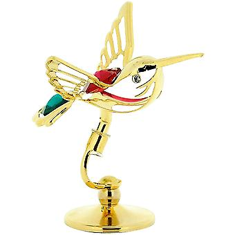 Crystocraft Freestanding Gold Plated Metal Hummingbird Made With Swarovski Crystals