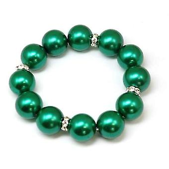 The Olivia Collection Ladies - Girls Glass Green Ball & Bead Bracelet