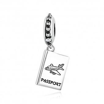 Sterling Silver Pendant Charm Passport Airplane - 5818
