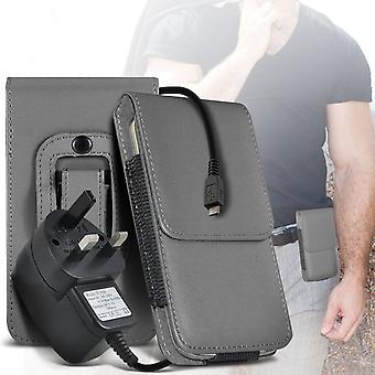 (Grey) Case For Xiaomi Redmi Pro Exclusive Edition PU Leather Belt Clip Pouch Holster + 3 pin charger Xiaomi Redmi Pro Exclusive Edition Cover By i-Tronixs