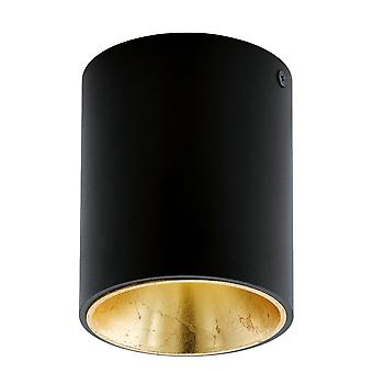 Eglo Polasso Round Surface Mount Ceiling Downlight In Black And Gold