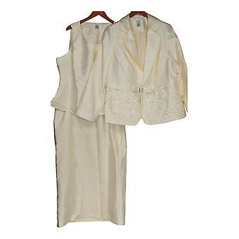 Masseys Plus Set Cutout Detailed Skirt Dress Suit Ivory