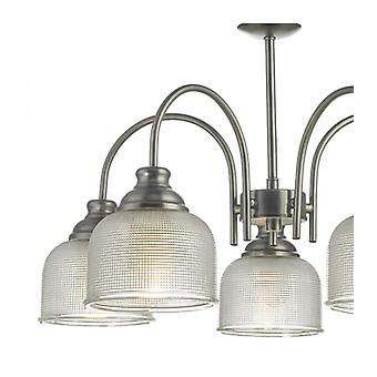 Tack Pendant Light Antique Chrome And Textured Glass 5 Bulbs