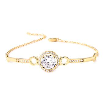 ELANZA White Cubic Zirconia Yellow Gold Plated Sterling Silver Classic Bracelet