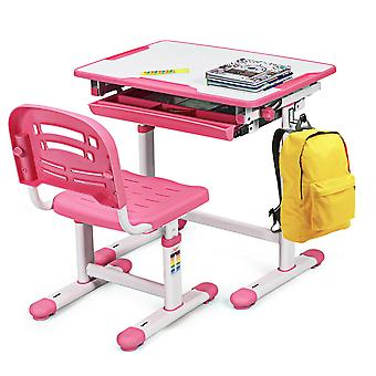Kids Study Desk Chair Set W/ Drawer & Tilted Desktop Height Adjustable Pink