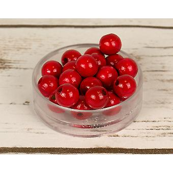 12mm Red Wooden Threading Beads Adults Crafts - 30pk