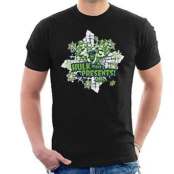 Marvel Christmas Hulk haluaa esittelee miesten ' s T-paita