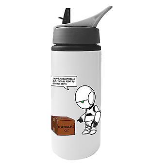 Guía de los hitchhikers para la galaxia Marvin Schrodingers gato botella de agua de aluminio con paja