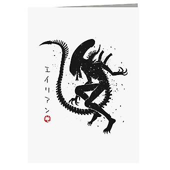 Alien Japan Hunter Greeting Card