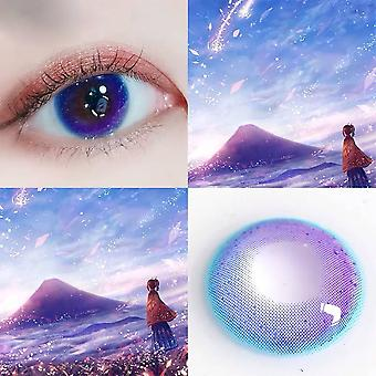 Starry Blue Cosmetic Contacts Lenses - Natural Beautiful Pupil  Colored Contact Lenses