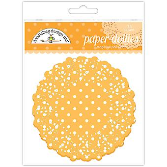 Doodlebug Diseño Tangerine Polka Dot Doilies (75pc) (4466)
