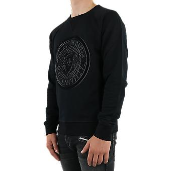 Balmain Coin D Flock Sweatshirt Black UH13279I3730PA Top