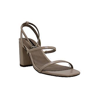 Aqua Frauen's Schuhe Maika Leder offene Zehen Knöchel Riemen klassische Pumps