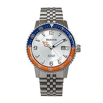 Heritor Automatic Dominic Bracelet Watch w/Date - Blue&Orange/Silver