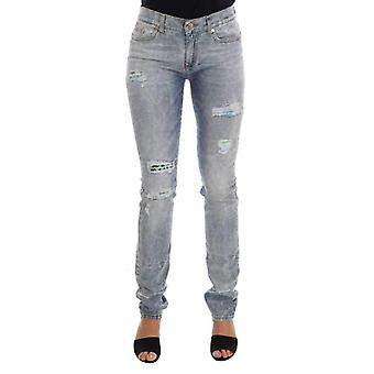Blue Wash Torn Stretch Slim Fit Jeans -- PAN6952240