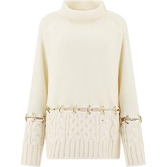 Sacai 05281151 Femme-apos;s Pull en laine blanche