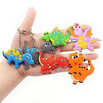 Baby Dinosaur Keychain Set Kids Soft- Pvc Keyring Charm Men Auto Pendant Plastic Cartoon Turtle Gifts