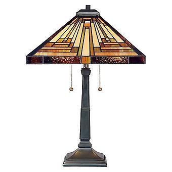 Elstead Stephen - 2 Lichte Tiffany Tafellamp Vintage Brons, E27