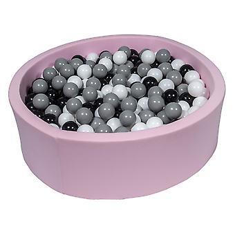 Różowy pit kulowy 90 cm z 450 kulkami czarnymi, białymi i szarymi