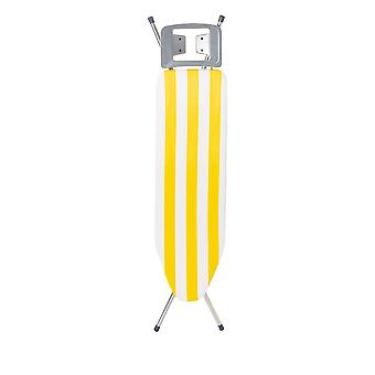 Granit Picallo Metal Ironing Board with Cover | Adjustable Height 69-89cm | 105 x 30cm Mesh Worktop | Yellow Stripe