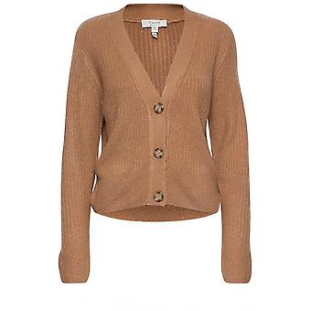 b.young Nora Tan Ribbed Cardigan
