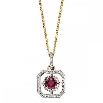 Joshua James Precious 9ct keltainen kulta rubiinin ja timantin art deco riipuksen kanssa