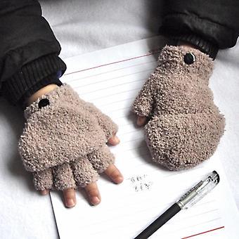 Zahustiť Half Finger Klapka, Baby Rukavice - Zimné Teplé