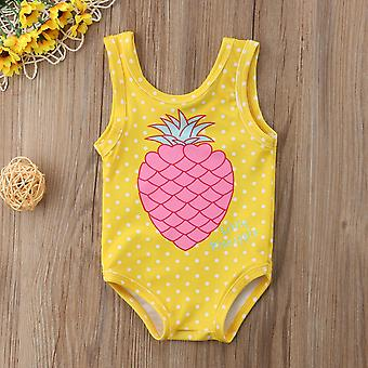 1-7y Kid Baby Girls Pineapple Print Swimwear Swimsuit- Maiô Verão