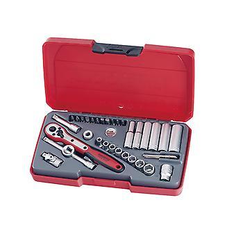 Teng T1435AF Socket Set of 35 A/F 1/4in Drive TENT1435AF