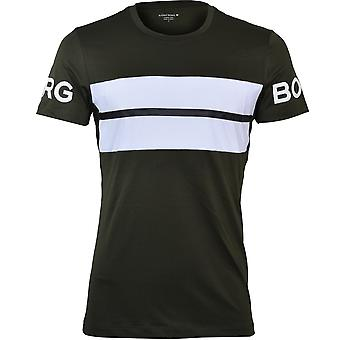 Bjorn Borg Retro Stripe Borg Performance T-Shirt, Kaki