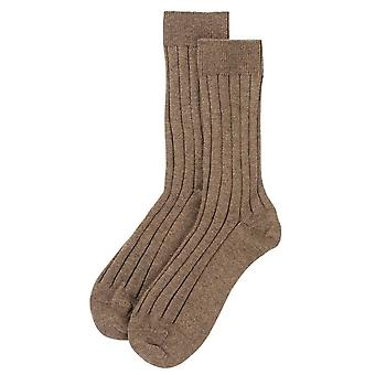 Johnstons of Elgin Ribbed Socks - Otter Brown