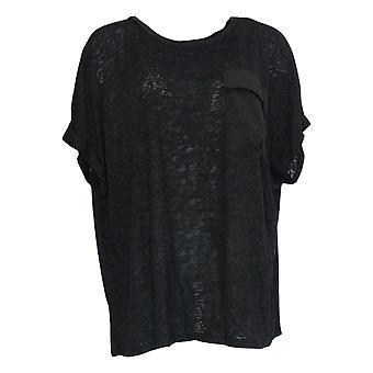 DG2 di Diane Gilman Women's Plus Top Black Pocket Short Sleeve 723-680