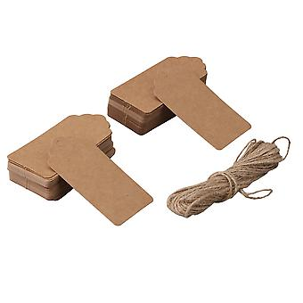 100x Kraft Paper Label Hang Tags for Wishing Trees Label Gift Card Brown