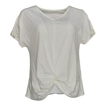 AnyBody Women's Top Short Sleeve V Neck Twist Front Tee White A377765