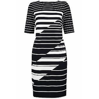 Striped Print Elbow Sleeve Jewel Neckline Sheath Dress