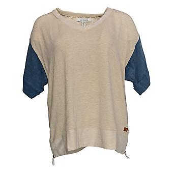 Peace Love World Women's Top French Terry W/ Zippers Beige A290286