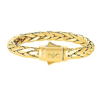 14k Yellow Gold Domed Woven Mens Bracelet, 8.5""
