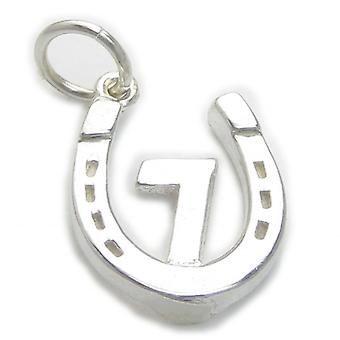 Lucky 7 In Hoefijzer Sterling Silver Charm .925 X 1 Luck Seven Charms - 4751