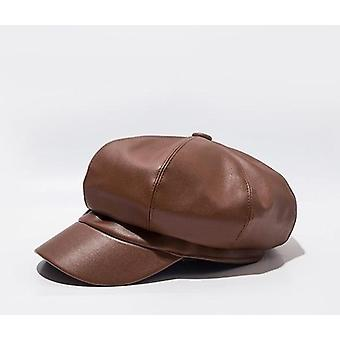 Octagonal Cap, Female Leather Duck Tongue Beret Women Hat