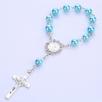 Imitation Pearl Beads Catholic Rosary Catholic Holy Communion Pendants Bracelet