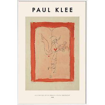 JUNIQE Print - Trèfle - A Guardian Angel Serves a Small Breakfast - Paul Klee Poster in Creme blanc & Rouge