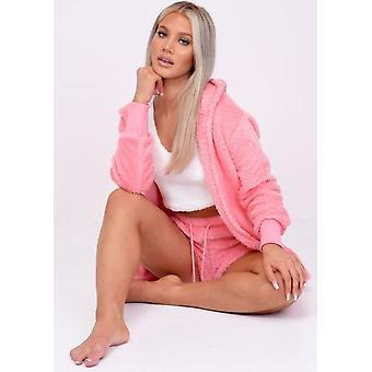 Teddy Borg Short Loungewear Co ord Set Hot Pink