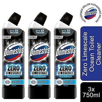 Domestos Zero Limescale Ocean Antibacterial Toilet Gel, 3 Packs of 750ml