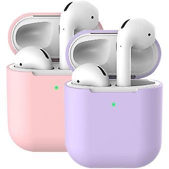 2X-kotelo AirPods-kotelon kannen nahkoille (AirPods 2, vaalea violetti + vaaleanpunainen)