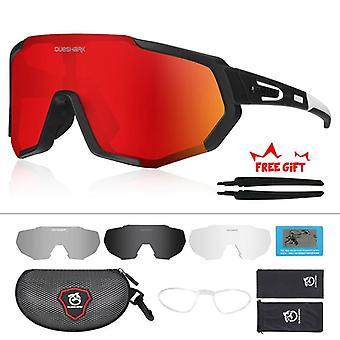 男性女性用偏光サイクリングアイウェア 自転車メガネ サングラス 4 レンズ UV400