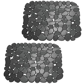 mDesign Kitchen Sink Protector Mat - Pebble Design - Small, 2 Pack