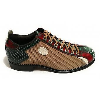 Men's Shoes Harris Soccer Bottom Lasered Suede Beige/ Green Python Print/ Shade Red U17ha89
