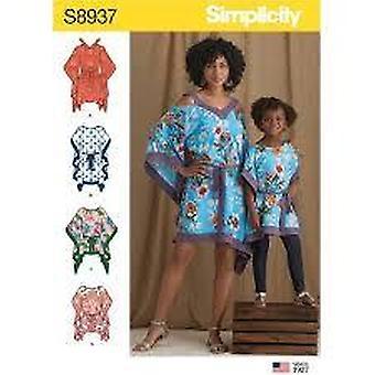 Eenvoud naaipatroon 8937 mist meisjes caftans twee lengtes maat S-L S-XL