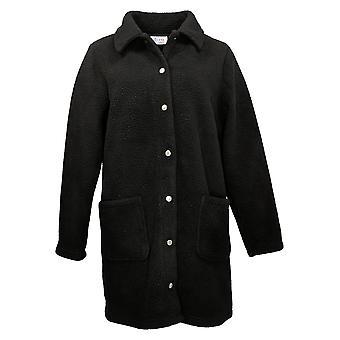 Denim & Co. Women's Jacket Collared Fleece W/ Snap Front Black A372275