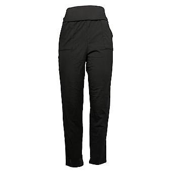 Nogen Kvinder 's Pant Petite Hyggelig Strik Jersey Foldover Jogger Sort A388559